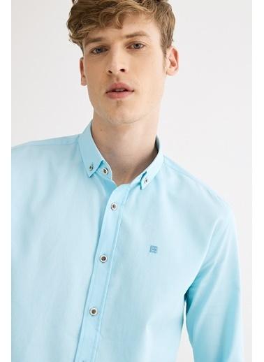 Avva Erkek  Armürlü Düğmeli Yaka Slim Gömlek A01S2301 Mavi